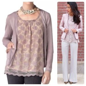 •CABI• Intrigue Lavender Lace Overlay Blouse Sz XS